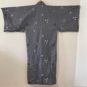 Ukata Japanese Cotton Kimono Navy/White Mon-Large